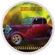 1934 Ford 5 Window Gennie Round Beach Towel