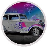 1934 Ford Delux Round Beach Towel
