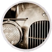 1934 Mg Pa Midget Supercharged Special Speedster Grille - Emblem Round Beach Towel