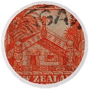1935 Carved Maori House New Zealand Stamp Round Beach Towel