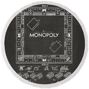 Round Beach Towel featuring the digital art 1935 Monopoly Game Board Patent Artwork - Gray by Nikki Marie Smith