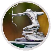 1935 Pierce-arrow 845 Coupe Hood Ornament Round Beach Towel