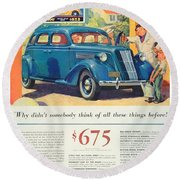 1936 - Nash Sedan Automobile Advertisement - Color Round Beach Towel