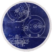 1936 Fishing Reel Patent Drawing Blue Round Beach Towel