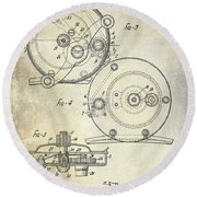 1936 Fishing Reel Patent Drawing Round Beach Towel