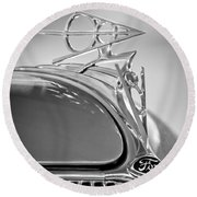 1936 Ford Deluxe Roadster Hood Ornament 2 Round Beach Towel
