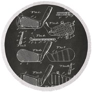 Round Beach Towel featuring the digital art 1936 Golf Club Patent Artwork - Gray by Nikki Marie Smith