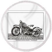 1936 Harley Knucklehead Round Beach Towel