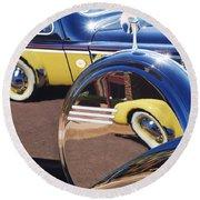 1937 Cord 812 Phaeton Reflected Into Packard Round Beach Towel