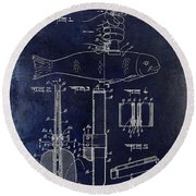 1937 Fishing Knife Patent Blue Round Beach Towel