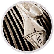 1937 Hudson Terraplane 4 Door Sedan Hood Ornament - Emblem Round Beach Towel