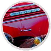 1937 International D2 Pickup Truck Side Emblem Round Beach Towel