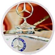 1937 Mercedes-benz Cabriolet Hood Ornament Round Beach Towel