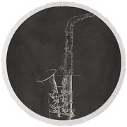 1937 Saxophone Patent Artwork - Gray Round Beach Towel by Nikki Marie Smith