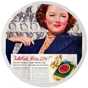 1938 - Lucky Strike Cigarettes Advertising - Myrna Loy - Color Round Beach Towel