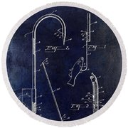 1938 Fishing Gaff Patent Drawing Blue Round Beach Towel