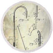 1938 Fishing Gaff Patent Drawing Round Beach Towel
