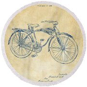 1939 Schwinn Bicycle Patent Artwork Vintage Round Beach Towel by Nikki Marie Smith