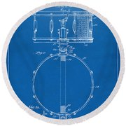 1939 Snare Drum Patent Blueprint Round Beach Towel