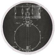1939 Snare Drum Patent Gray Round Beach Towel