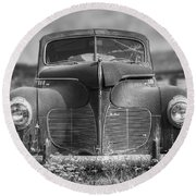 1940 Desoto Deluxe Black And White Round Beach Towel