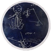 1940 Fishing Gaff Patent Drawing Blue Round Beach Towel