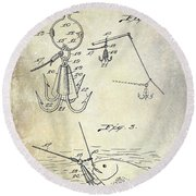 1940 Fishing Gaff Patent Drawing Round Beach Towel