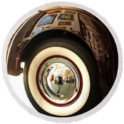 Round Beach Towel featuring the photograph Classic Maroon 1940 Ford Rear Fender And Wheel   by Jerry Cowart