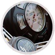 1938 Lincoln-zephyr Continental Cabriolet Steering Wheel Emblem -1817c Round Beach Towel