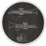 1940 Trumpet Patent Artwork - Gray Round Beach Towel by Nikki Marie Smith