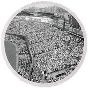 1940s 1950s Large Crowd Yankee Stadium Round Beach Towel
