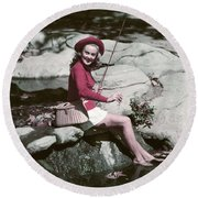 1940s 1950s Smiling Woman Fly Fishing Round Beach Towel