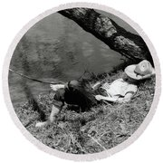 1940s Barefoot Boy Sleeping Under Tree Round Beach Towel