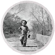 1940s Boy Walking Down Country Road Round Beach Towel