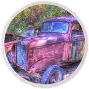 1940s Pickup Truck Round Beach Towel