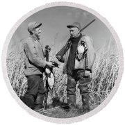 1940s Two Men Duck Hunting Standing Round Beach Towel