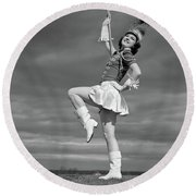 1940s Woman Drum Major In Majorette Round Beach Towel