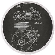 1941 Indian Motorcycle Patent Artwork - Gray Round Beach Towel