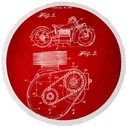 1941 Indian Motorcycle Patent Artwork - Red Round Beach Towel
