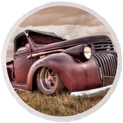1941 Rusty Chevrolet Round Beach Towel by Gill Billington