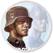 1943 - German Waffen Ss Recruitment Poster - Norway - Color Round Beach Towel