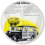 1946 - Willys Overland Jeep Station Wagon Advertisement - Color Round Beach Towel