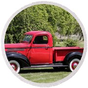 Round Beach Towel featuring the photograph 1946 Chevy Pickup by E Faithe Lester