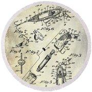 1940 Illuminated Bait Patent Drawing Round Beach Towel by Jon Neidert