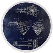 1947 Fishing Net Patent Drawing Blue Round Beach Towel