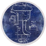 1947 Outboard Motor Patent Drawing Blue Round Beach Towel