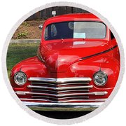 1948 Plymouth Coupe Round Beach Towel