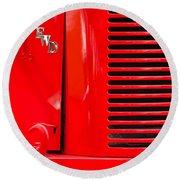 1950 Four Wheel Drive Pumper Fire Truck Emblems Round Beach Towel by Jill Reger