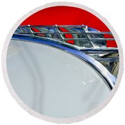 1950 Plymouth Hood Ornament 3 Round Beach Towel