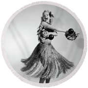 1950s 1960s Barefoot Laughing Blonde Round Beach Towel